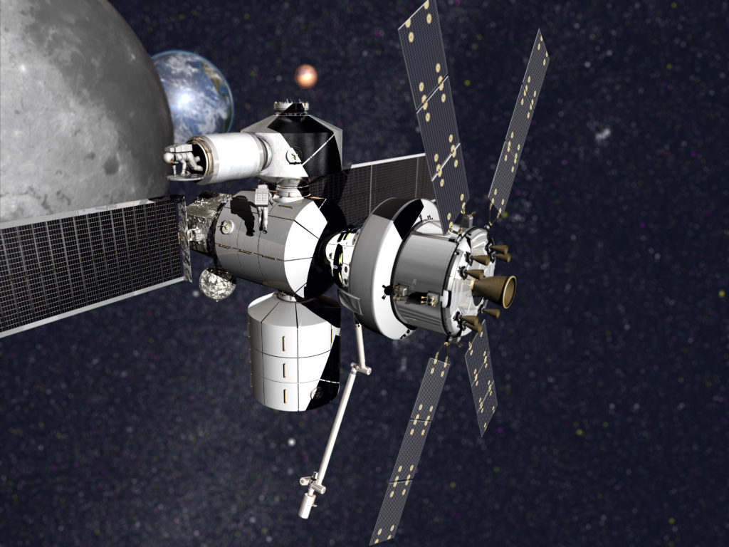 Concept image of Lockheed Martin's NextSTEP-2 habitat with Orion.  Image Credit: Lockheed Martin