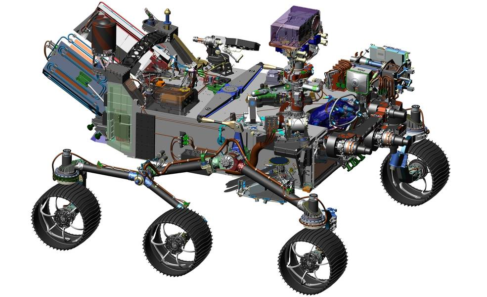 The design of NASA's Mars 2020 rover leverages many successful features of the agency's Curiosity rover, which landed on Mars in 2012, but it adds new science instruments and a sampling system to carry out the new goals for the 2020 mission. Image Credit: NASA