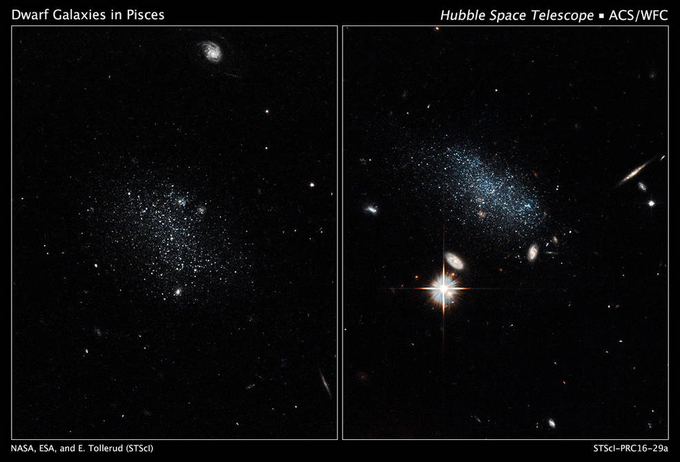 NASA's Hubble Space Telescope has captured the glow of new stars in these small, ancient galaxies, called Pisces A and Pisces B. The dwarf galaxies have lived in isolation for billions of years and are just now beginning to make stars. Image Credit: NASA, ESA, and E. Tollerud (STScI)