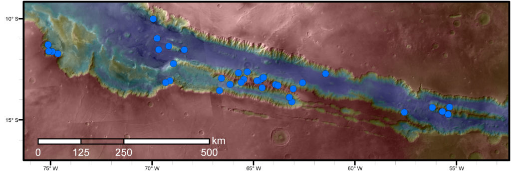 Blue dots on this map indicate sites of recurring slope lineae (RSL) in part of the Valles Marineris canyon network on Mars. RSL are seasonal dark streaks that may be indicators of liquid water. The area mapped here has the highest density of known RSL on Mars. Image Credit: NASA/JPL-Caltech/Univ. of Arizona