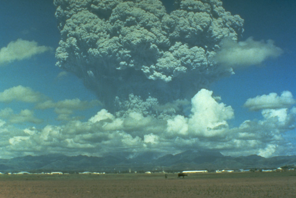Mount Pinatubo erupting in 1991. Image Credit: USGS