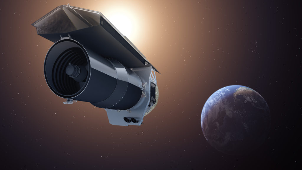 "This artist's concept shows NASA's Spitzer Space Telescope. Spitzer begins its ""Beyond"" mission phase on Oct. 1, 2016. The spacecraft is depicted in the orientation it assumes to establish communications with ground stations.  Image Credit: NASA/JPL-Caltech"