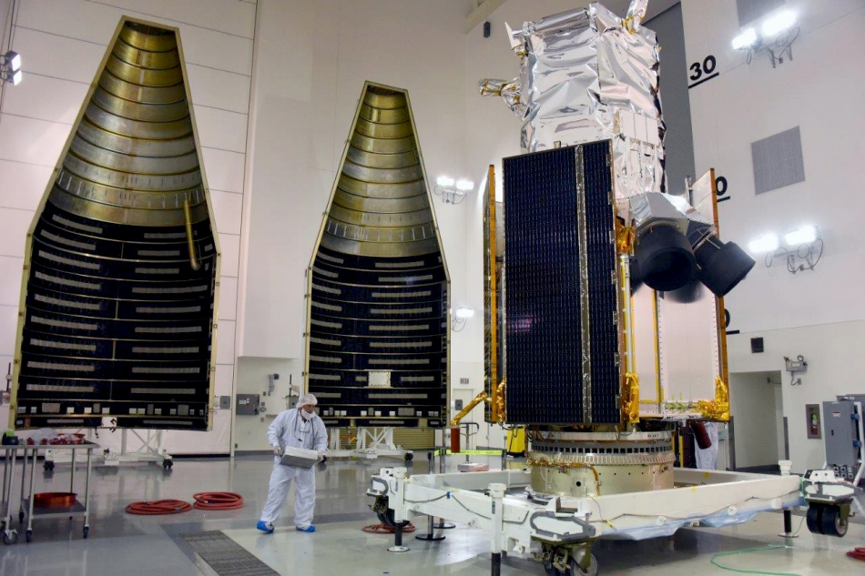 Built by Lockheed Martin, DigitalGlobe's WorldView-4 satellite is enclosed in the four-meter fairing that will then be placed atop an Atlas V 401 rocket. Image Credit: Lockheed Martin/United Launch Alliance