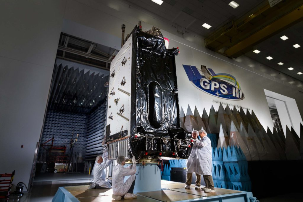 GPSIII prior to anechoic testing. Image Credit: Lockheed Martin