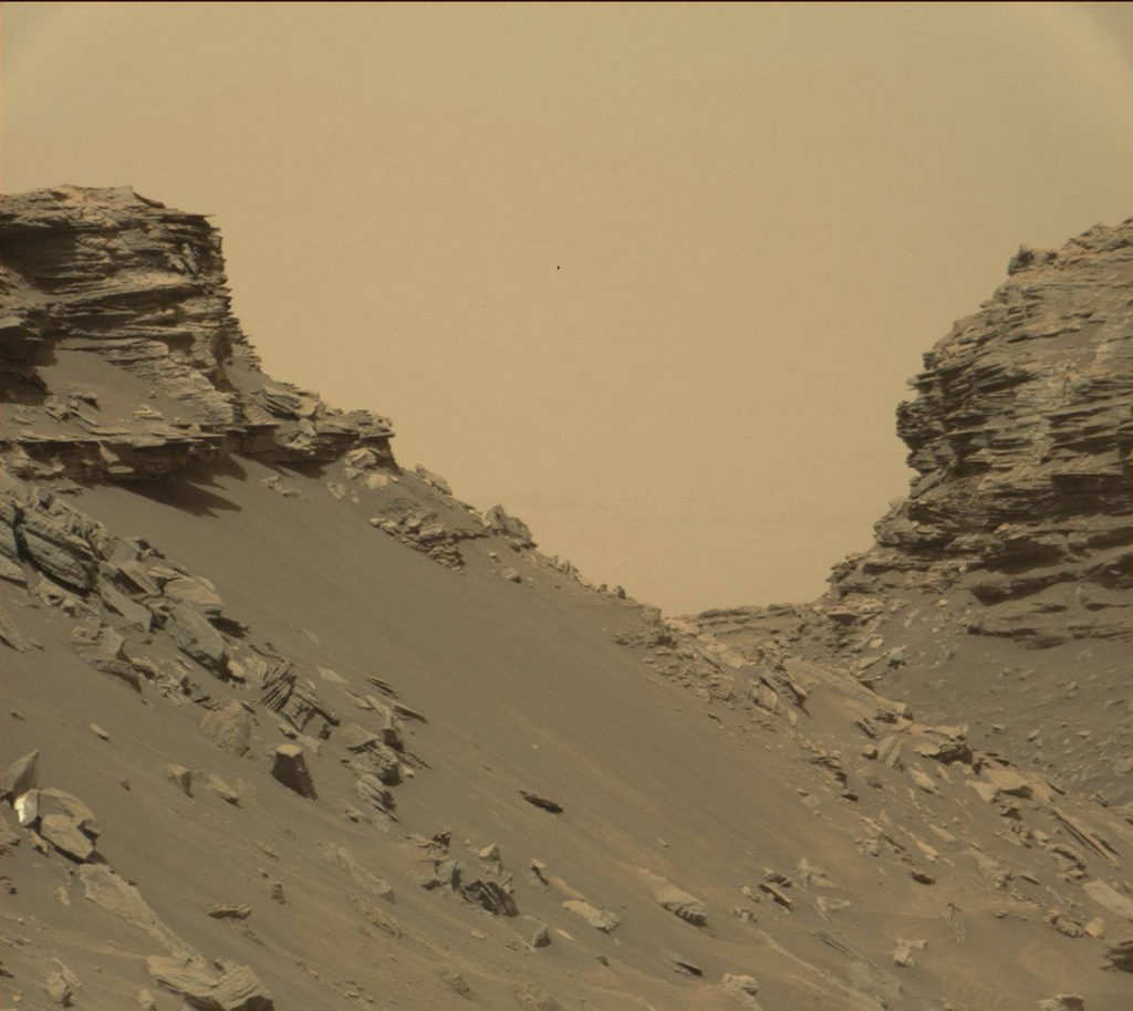 "Curiosity viewed sloping buttes and layered outcrops as it exited the ""Murray Buttes"" region on lower Mount Sharp, Sept. 9, 2016. Image Credit: NASA/JPL-Caltech/MSSS"