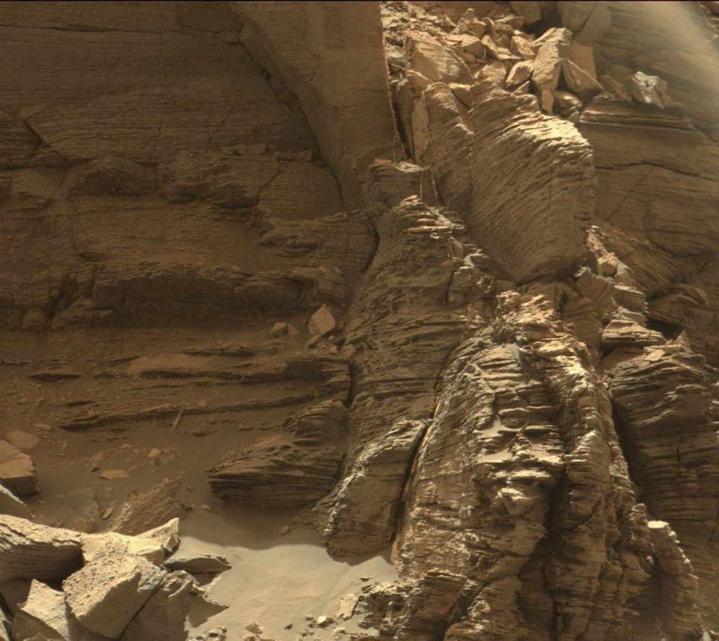 "This view from the Mast Camera (Mastcam) in NASA's Curiosity Mars rover shows an outcrop with finely layered rocks within the ""Murray Buttes"" region on lower Mount Sharp. The image was taken on Sept. 8, 2016, during the 1454th Martian day, or sol, of Curiosity's work on Mars. Image Credit:  NASA/JPL-Caltech/MSSS"