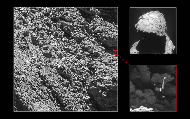 Rosetta's lander Philae has been identified in OSIRIS narrow-angle camera images taken on 2 September 2016 from a distance of 2.7 km. The image scale is about 5 cm/pixel. Philae's 1 m-wide body and two of its three legs can be seen extended from the body. The images also provide proof of Philae's orientation. A Rosetta Navigation Camera image taken on 16 April 2015 is shown at top right for context, with the approximate location of Philae on the small lobe of Comet Churyumov-Gerasimenko marked. Image Credit: Main image and lander inset: ESA/Rosetta/MPS for OSIRIS Team MPS/UPD/LAM/IAA/SSO/INTA/UPM/DASP/IDA; context: ESA/Rosetta/NavCam – CC BY-SA IGO 3.0