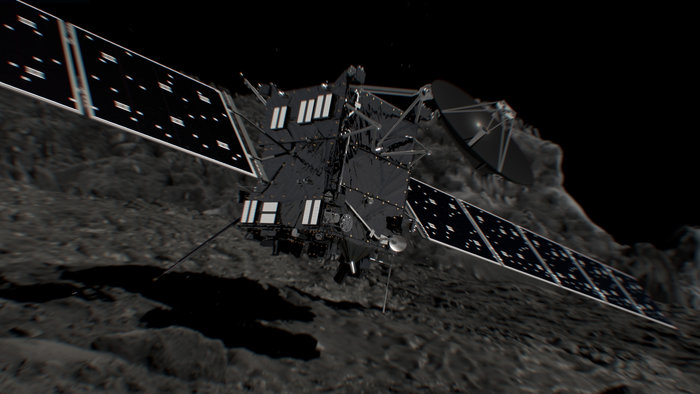 Artist's impression of Rosetta shortly before hitting Comet 67P/Churyumov–Gerasimenko on 30 September 2016. Image Credit: ESA/ATG medialab