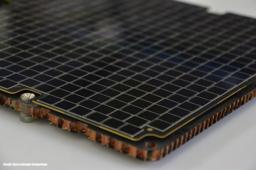 SNC's low-cost solar array Surface Mount Technology. Image Credit: Sierra Nevada Corporation