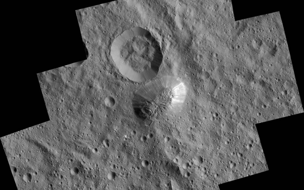 Ceres' mysterious mountain Ahuna Mons is seen in this mosaic of images from NASA's Dawn spacecraft. On its steepest side, this mountain is about 3 miles (5 kilometers) high. Its average overall height is 2.5 miles (4 kilometers). The diameter of the mountain is about 12 miles (20 kilometers). Dawn took these images from its low-altitude mapping orbit, 240 miles (385 kilometers) above the surface, in December 2015. Image Credit: NASA/JPL/Dawn mission