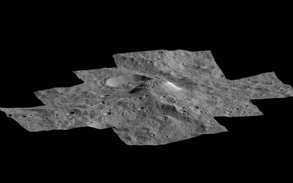 This side-perspective view of Ceres' mysterious mountain Ahuna Mons was made with images from NASA's Dawn spacecraft. Image Credit: NASA/JPL/Dawn mission