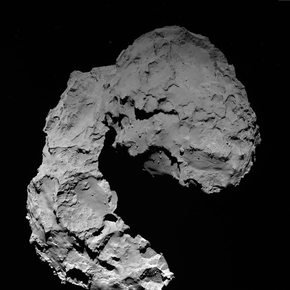 This view shows Comet 67P/Churyumov–Gerasimenko as seen by the OSIRIS wide-angle camera on ESA's Rosetta spacecraft on September 29, 2016, when Rosetta was at an altitude of 14 miles (23 kilometers). Image Credit: ESA/Rosetta/MPS for OSIRIS Team MPS/UPD/LAM/IAA/SSO/INTA/UPM/DASP/IDA