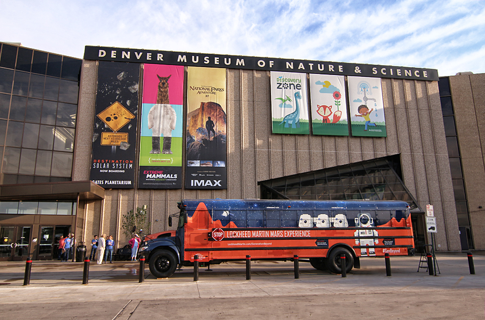 The Lockheed Martin Mars Experience Bus kicked off a national tour at the Denver Museum of Nature & Science. Image Credit: Colorado Space News