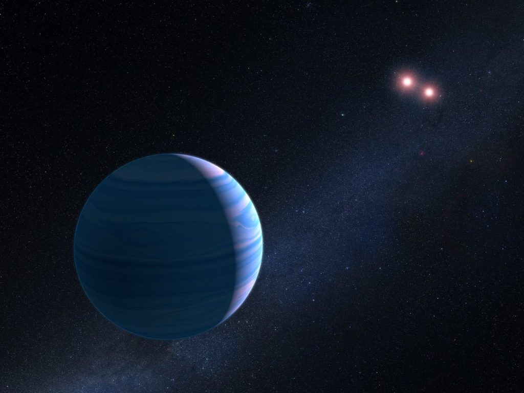 This artist's impression shows a gas giant planet circling the two red dwarf stars in the system OGLE-2007-BLG-349, located 8 000 light-years away. Image Credit: NASA, ESA, and G. Bacon (STScI)