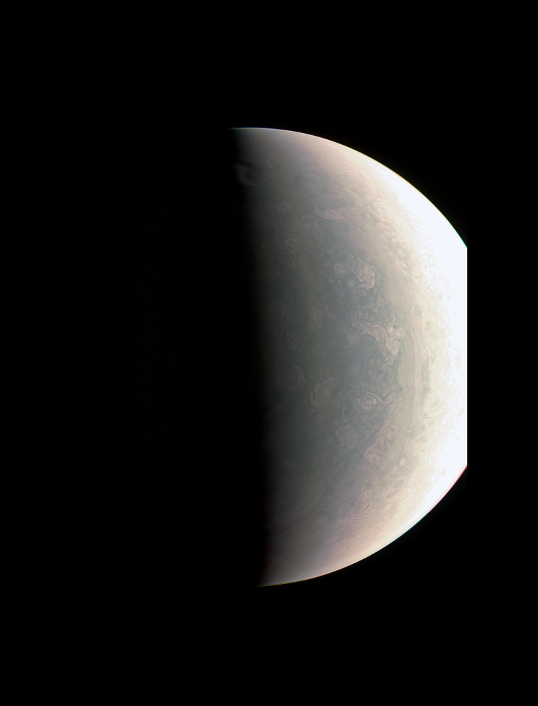 Juno was about 48,000 miles (78,000 kilometers) above Jupiter's polar cloud tops when it captured this view, showing storms and weather unlike anywhere else in the solar system. Image Credit: NASA/JPL-Caltech/SwRI/MSSS