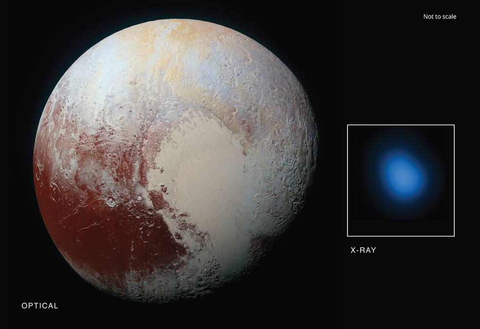 The first detection of Pluto in X-rays has been made using NASA's Chandra X-ray Observatory in conjunction with observations from NASA's New Horizon spacecraft. Image Credit: X-ray: NASA/CXC/JHUAPL/R.McNutt et al; Optical: NASA/JHUAPL