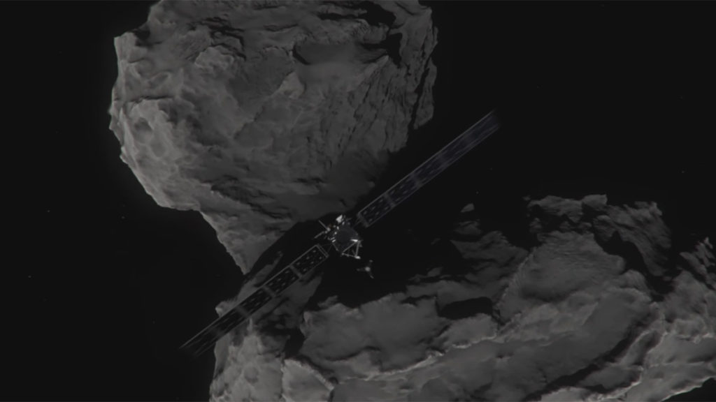 Artist's concept of Rosetta shortly before hitting Comet 67P/Churyumov-Gerasimenko on Sept. 30, 2016. Image credit: ESA/ATG medialab