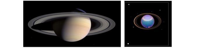 Figure 1: (left) Image of Saturn's rings taken by the Cassini spacecraft. Provided by NASA http://photojournal.jpl.nasa.gov/catalog/PIA06077). (right) Image of Uranus' rings taken by the Hubble Space Telescope. Provided by NASA. (http://photojournal.jpl.nasa.gov/catalog/PIA02963). Image Credit: NASA