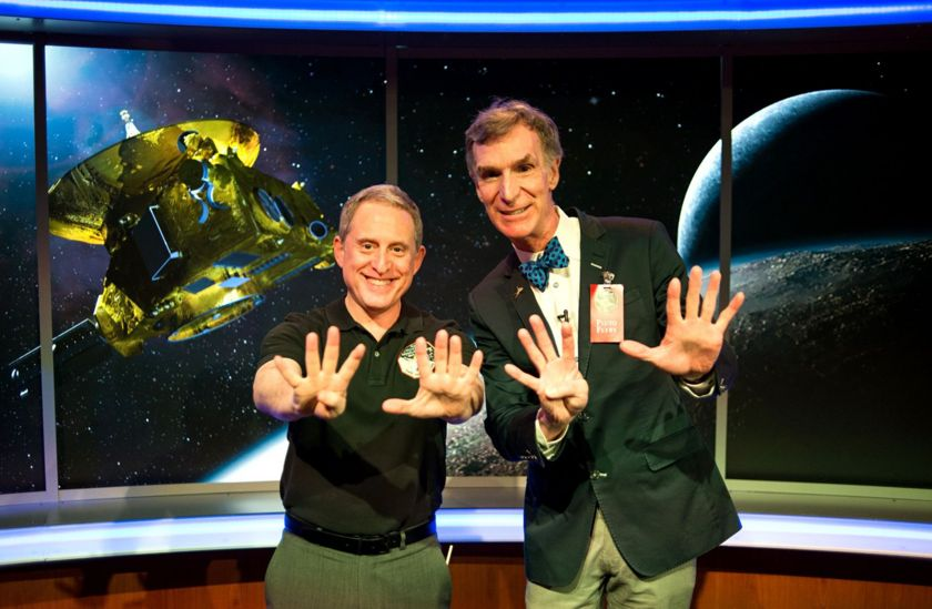Alan Stern and Bill Nye celebrate the Pluto Flyby at Johns Hopkins University Applied Physics Laboratory. Image Credit: Navid Baraty / The Planetary Society