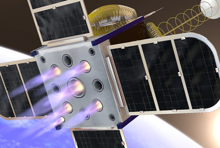 Artists concept of a CubeSat on-board propulsion system. Image Credit: Inside Out Visuals
