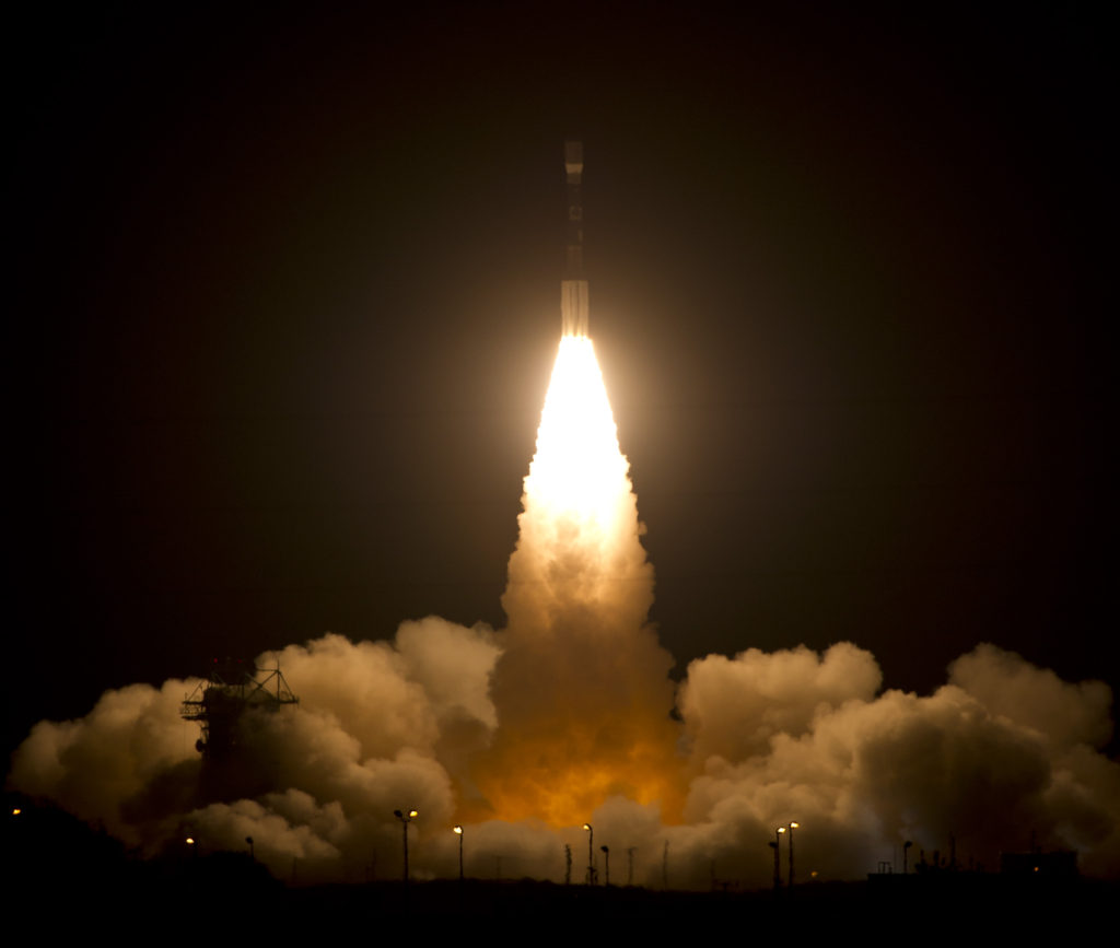The Suomi National Polar-orbiting Partnership spacecraft lifted off at 5:48 a.m. EDT on Oct. 28, 2011, to begin its Earth observation mission. The spacecraft was lifted into orbit by a United Launch Alliance Delta II rocket launching from Vandenberg Air Force Base, Calif. The launch capped a flawless countdown. Image Credit: NASA/Bill Ingalls