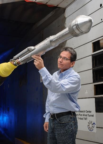 Wind tunnel testing of the new Atlas V Starliner configuration. Image Credit: ULA