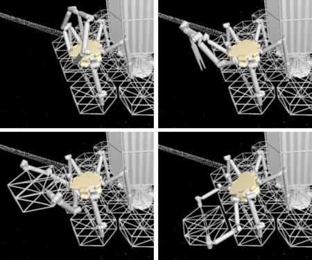 The illustration shows how a robot could assemble the trusses that would support a massive telescope mirror. Image Credit: Sergio Pellegrino/Caltech
