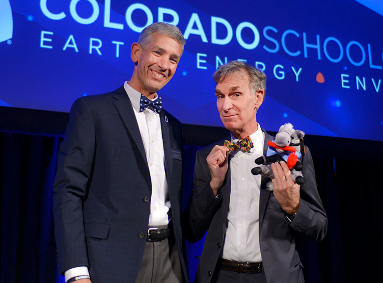 Mines' President Paul Johnson, Bill Nye and Blaster the Burro in their matching bow-ties, all part of the Bill Nye official bow-tie collection. Image Credit: Thomas Cooper