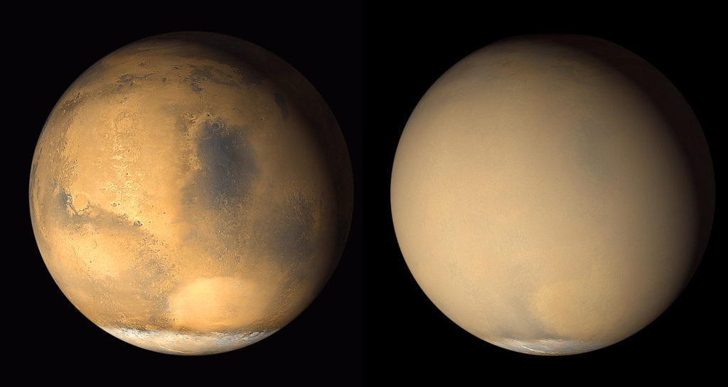 Two 2001 images from the Mars Orbiter Camera on NASA's Mars Global Surveyor orbiter show a dramatic change in the planet's appearance when haze raised by dust-storm activity in the south became globally distributed (Figure 1). At left, an image from late June 2001 shows clear conditions over much of the planet, with regional dust-storm activity occurring in the Hellas basin (bright oval feature) near the edge of the south polar cap. At right, a July 2001 image from the same perspective shows the planet almost completely enveloped. Dust extends to altitudes of more than 60 kilometers (37 miles) during global-scale storms. Image Credit: NASA/JPL/MSSS