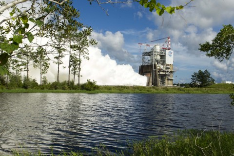 The RS-25 rocket engine built by Aerojet Rocketdyne is tested for 420 seconds at NASA's Stennis Space Center on August 18, 2016. Image Credit: NASA/Business Wire