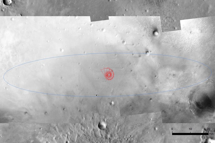 Schiaparelli's 100 km x 15 km landing ellipse, with the simulated descent imaging sequence indicated. Image Credit; central region: NASA/JPL/MRO; background image: THEMIS daytime infrared map from Mars Odyssey; simulation: ESA