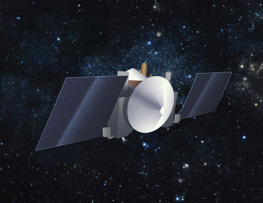 Artist's conception of the OSIRIS-REx spacecraft in cruise configuration. Image Credit: University of Arizona/Heather Roper