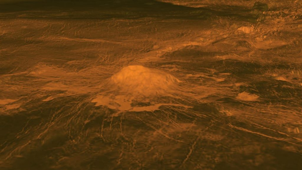 The figure displays an elevation model of Idunn Mons, a volcano with a diameter of 200 kilometers located at Imdr Regio on Venus. Image Credit: NASA/JPL-Caltech/ESA