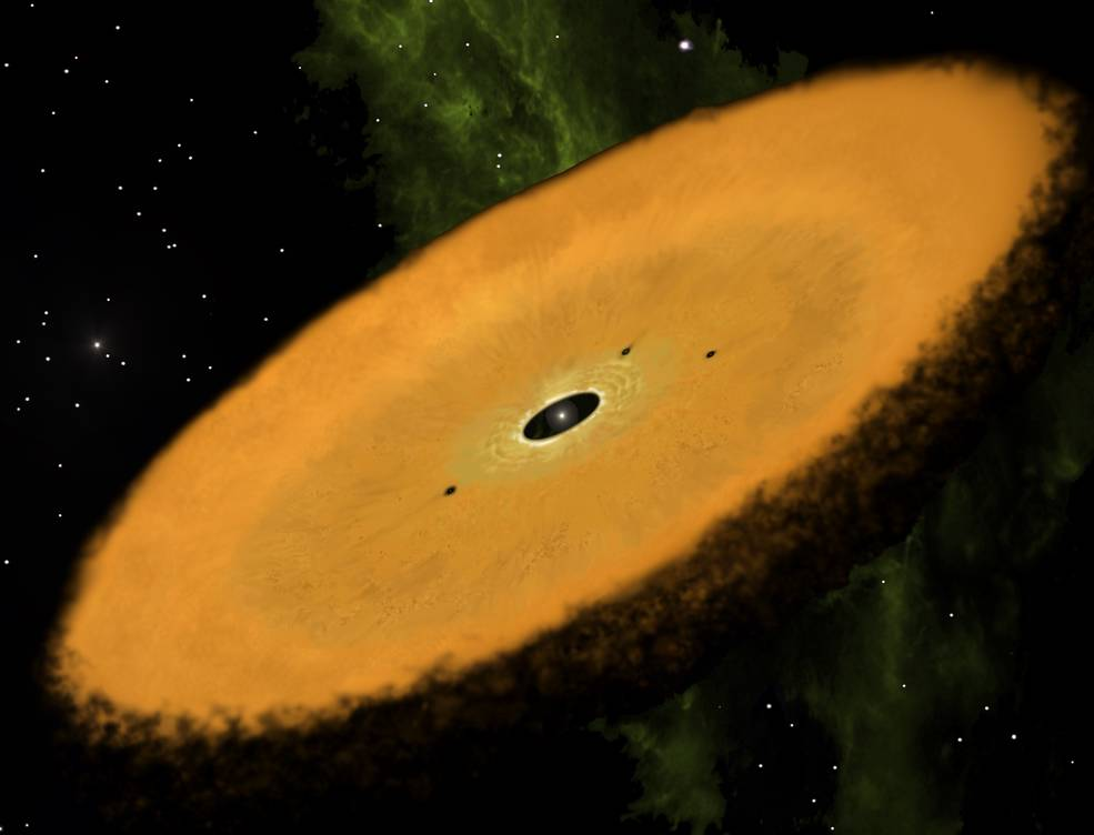 Artist's concept of the newly discovered disk. Image Credit: Jonathan Holden