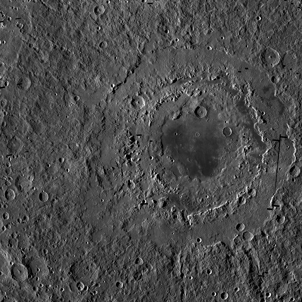 Orientale basin is about 580 miles (930 kilometers) wide and has three distinct rings, which form a bullseye-like pattern. This view is a mosaic of images from NASA's Lunar Reconnaissance Orbiter. Image credit: NASA/GSFC/Arizona State University