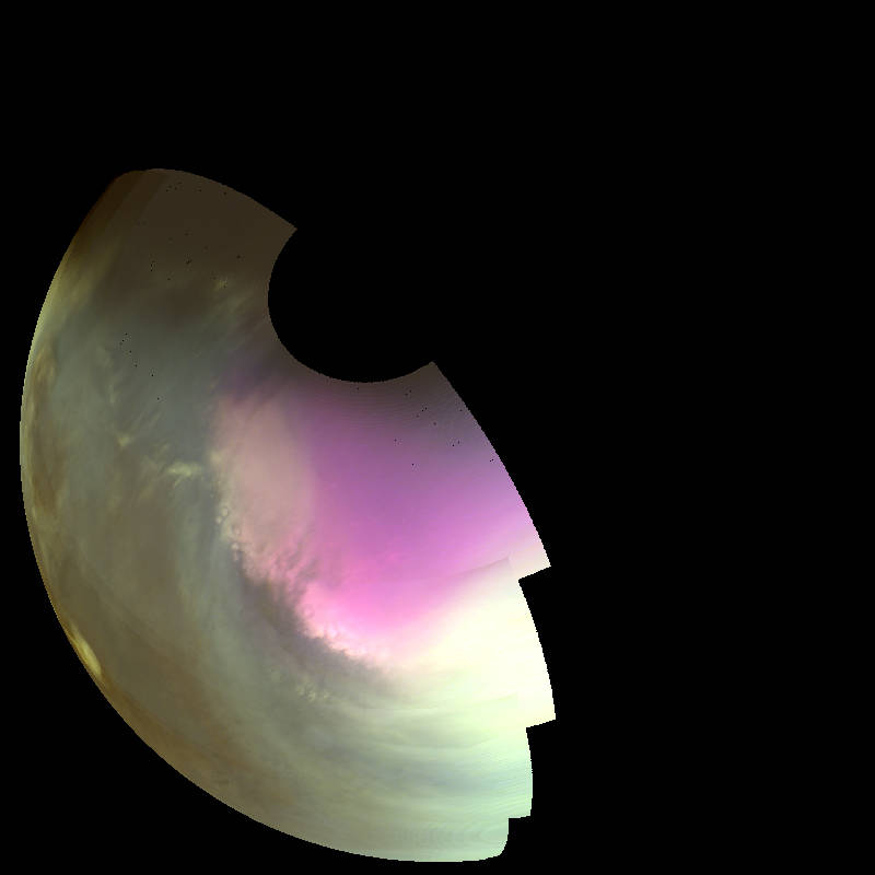 This ultraviolet image near Mars' South Pole was taken by MAVEN on July 10 2016 and shows the atmosphere and surface during southern spring. The ultraviolet colors of the planet have been rendered in false color, to show what we would see with ultraviolet-sensitive eyes. Darker regions show the planet's rocky surface and brighter regions are due to clouds, dust and haze. The white region centered on the pole is frozen carbon dioxide (dry ice) on the surface. Pockets of ice are left inside craters as the polar cap recedes in the spring, giving its edge a rough appearance. High concentrations of atmospheric ozone appear magenta in color, and the wavy edge of the enhanced ozone region highlights wind patterns around the pole. Image Credit: NASA/MAVEN/University of Colorado