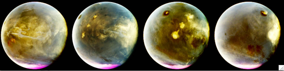 MAVEN's Imaging UltraViolet Spectrograph obtained these images of rapid cloud formation on Mars on July 9-10, 2016. The ultraviolet colors of the planet have been rendered in false color, to show what we would see with ultraviolet-sensitive eyes. The series interleaves MAVEN images to show about 7 hours of Mars rotation during this period, just over a quarter of Mars' day. The left part of the planet is in morning and the right side is in afternoon. Mars' prominent volcanoes, topped with white clouds, can be seen moving across the disk. Mars' tallest volcano, Olympus Mons, appears as a prominent dark region near the top of the images, with a small white cloud at the summit that grows during the day. Olympus Mons appears dark because the volcano rises up above much of the hazy atmosphere which makes the rest of the planet appear lighter. Three more volcanoes appear in a diagonal row, with their cloud cover merging to span up to a thousand miles by the end of the day. These images are particularly interesting because they show how rapidly and extensively the clouds topping the volcanoes form in the afternoon. Similar processes occur at Earth, with the flow of winds over mountains creating clouds. Afternoon cloud formation is a common occurrence in the American West, especially during the summer. Image Credit: NASA/MAVEN/University of Colorado