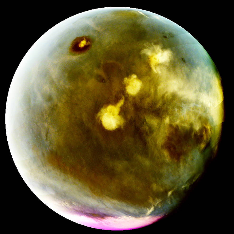 MAVEN's Imaging UltraViolet Spectrograph obtained images of rapid cloud formation on Mars on July 9-10, 2016. The ultraviolet colors of the planet have been rendered in false color, to show what we would see with ultraviolet-sensitive eyes. Mars' tallest volcano, Olympus Mons, appears as a prominent dark region near the top of the image, with a small white cloud at the summit that grows during the day. Three more volcanoes appear in a diagonal row, with their cloud cover (white areas near center) merging to span up to a thousand miles by the end of the day. Image Credit: NASA/MAVEN/University of Colorado