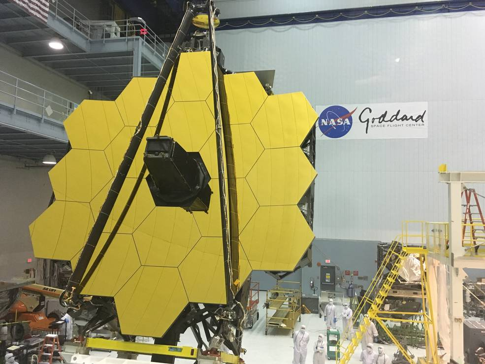The 18-segment primary mirror of the James Webb Space Telescope, fully assembled in a clean room at NASA's Goddard Space Flight Center in Greenbelt, Maryland. Image Credit: NASA's Goddard Space Flight Center