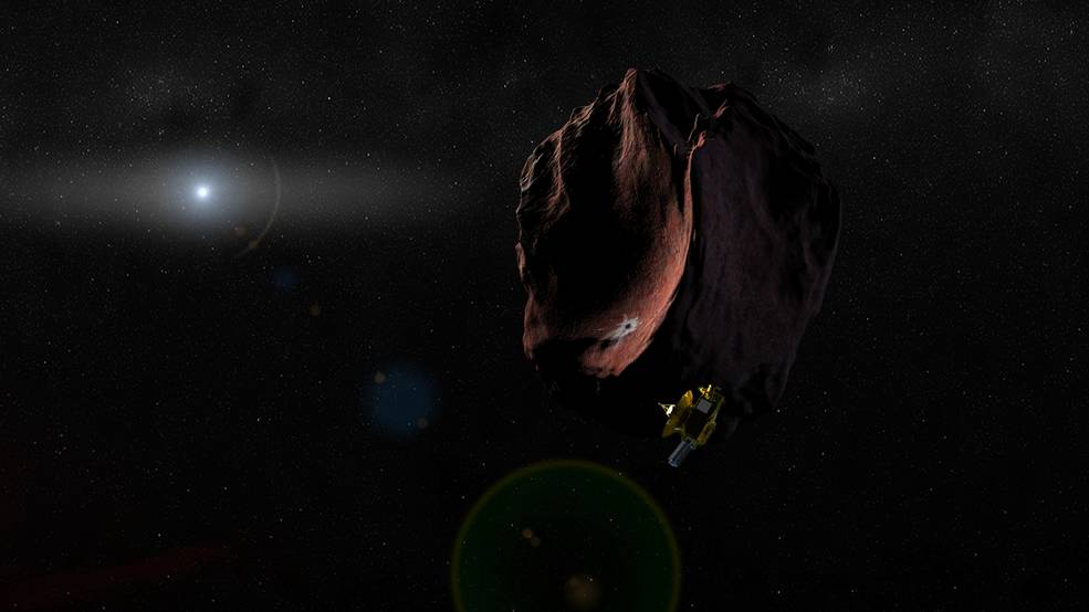 Artist's impression of NASA's New Horizons spacecraft encountering a Kuiper Belt object, as part of an extended mission after the spacecraft's July 2015 Pluto flyby. New Horizons is set to fly past 2014 MU69 – a KBO currently about a billion miles (1.6 billion kilometers) beyond Pluto – on Jan. 1, 2019. Recent data from the Hubble Space Telescope suggests 2014 MU69 has a reddish hue, even redder than Pluto. The object is the smallest KBO to have its surface properties measured. Image Credit: NASA/JHUAPL/SwRI