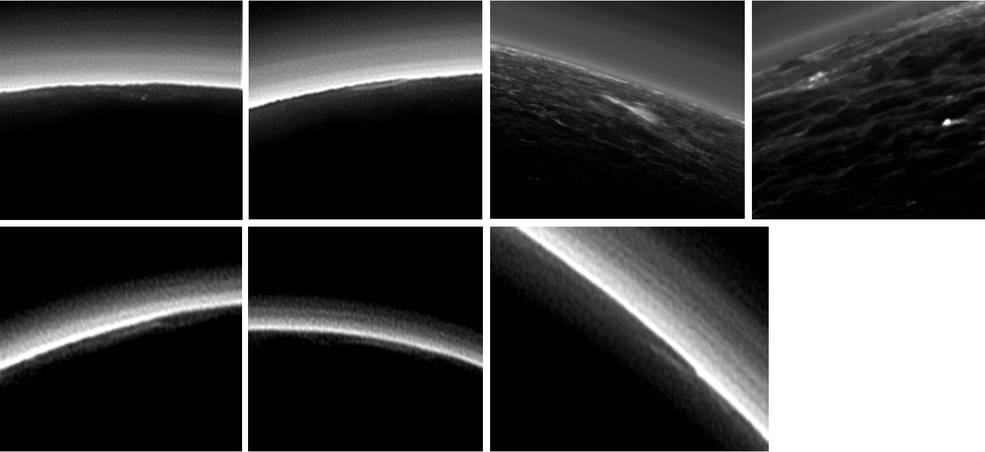 Partly Cloudy on Pluto? Pluto's present, hazy atmosphere is almost entirely free of clouds, though scientists from NASA's New Horizons mission have identified some cloud candidates after examining images taken by the New Horizons Long Range Reconnaissance Imager and Multispectral Visible Imaging Camera, during the spacecraft's July 2015 flight through the Pluto system. All are low-lying, isolated small features—no broad cloud decks or fields – and while none of the features can be confirmed with stereo imaging, scientists say they are suggestive of possible, rare condensation clouds. Image Credit: NASA/JHUAPL/SwRI