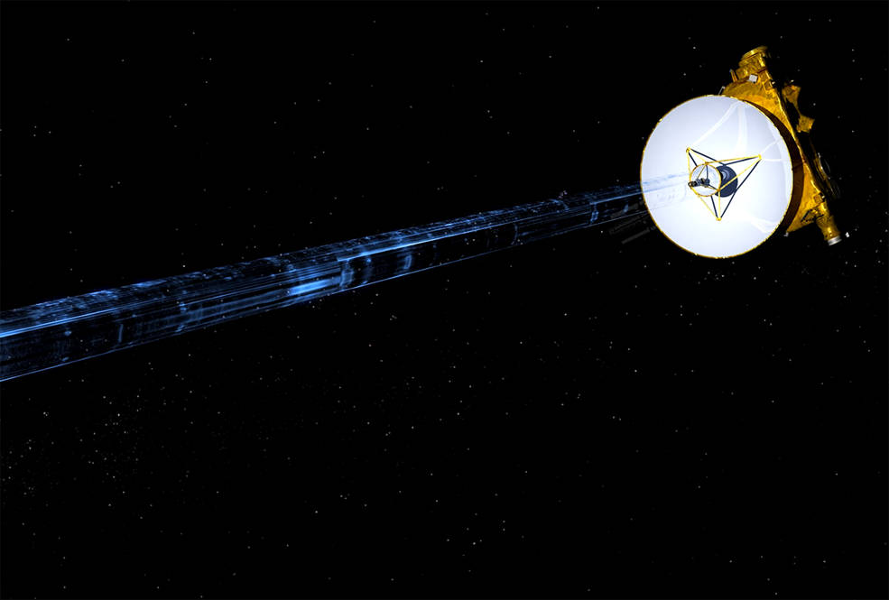 Artist's illustration of NASA's New Horizons spacecraft transmitting data back to Earth. Image Credit: NASA/JHUAPL/SwRI