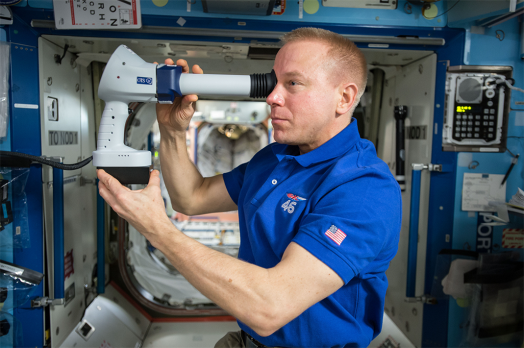 Expedition 47 Commander Tim Kopra of NASA participates in the Ocular Health investigation aboard the International Space Station. Image Credit: NASA