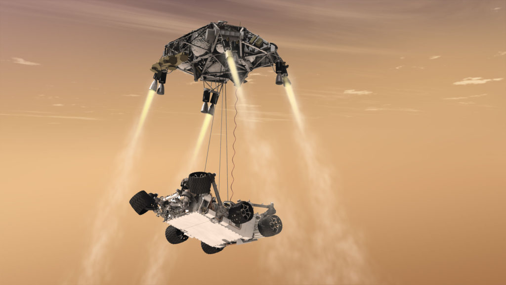 An artist's concept of the 2012 Mars Curiosity Landing. Mars 2020 will use a nearly identical landing system, but with added precision from the Lander Vision System. Image Credit: NASA/JPL-Caltech