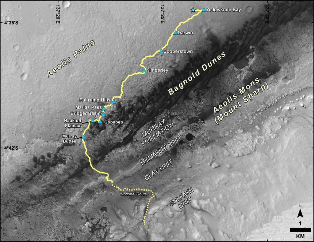 "This map shows the route driven by NASA's Curiosity Mars rover from the location where it landed in August 2012 to its location in September 2016 at ""Murray Buttes,"" and the path planned for reaching destinations at ""Hematite Unit"" and ""Clay Unit"" on lower Mount Sharp. Image Credit: NASA/JPL-Caltech/Univ. of Arizona"