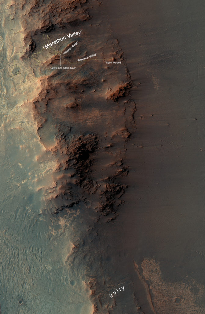 "This map show a portion of Endeavour Crater's western rim that includes the ""Marathon Valley"" area investigated intensively by NASA's Mars Exploration Rover Opportunity in 2015 and 2016, and a fluid-carved gully that is a destination to the south for the mission. Image Credit: NASA/JPL-Caltech/Univ. of Arizona"