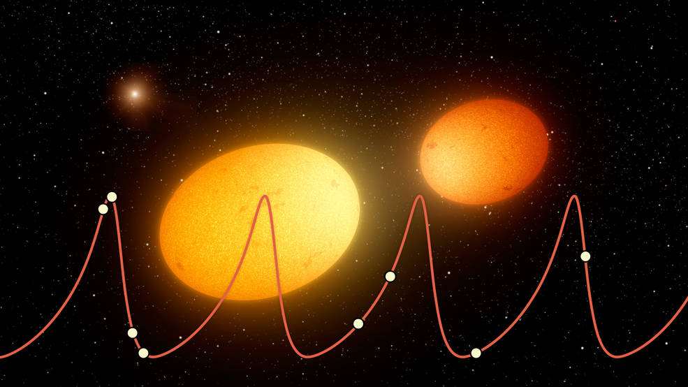 "This artist's concept depicts ""heartbeat stars,"" which have been detected by NASA's Kepler Space Telescope and others. Image Credit: NASA/JPL-Caltech"