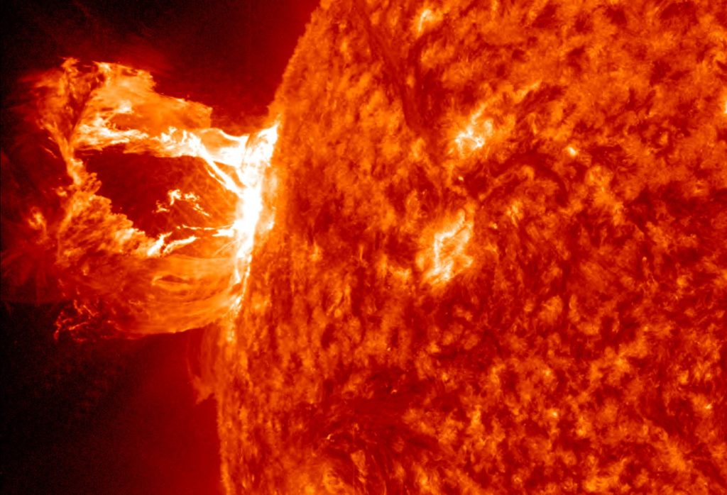 An image from the Solar Dynamics Observatory that shows a solar flare and coronal mass ejection. Image Credit: SDO/NASA