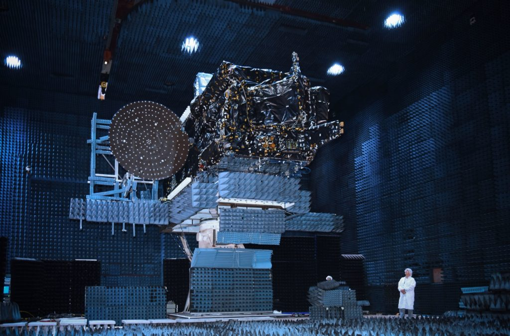 The EchoStar XXI satellite, built by SSL for EchoStar, has arrived at launch base. Image Credit: PRNewsFoto/SSL