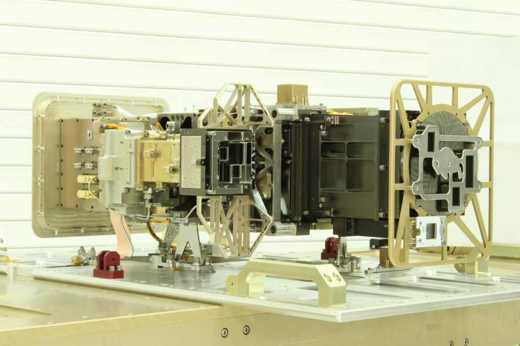 EXIS consists of an Extreme Ultraviolet Sensor (EUVS), an X-Ray sensor (XRS) and a combined EUVS/XRS electronics box (EXEB) to control subsystems and to do command and data handling interface with the GOES-R spacecraft. Image Credit: LASP